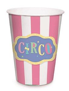 Copo de Papel Festa Circo Rosa - 08 unidades - Cromus - Rizzo Embalagens