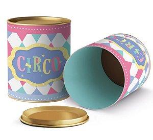 Lata para Lembrancinhas Festa Circo Rosa - 11x9cm - 01 unidade - Cromus - Rizzo Embalagens