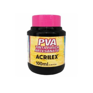Tinta Fosca Artesanato PVA 100ml - Preto R520 - 1 unidade - Acrilex - Rizzo