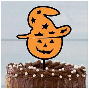 Topo de Bolo - Cabeça de Abóbora Halloween Glitter - 01 unidade - Sonho Fino - Rizzo Embalagens