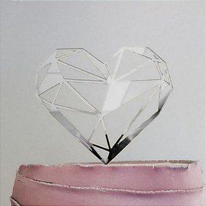 Topo de Bolo Coração Geométrico Espelhado Prata Sonho Fino Rizzo
