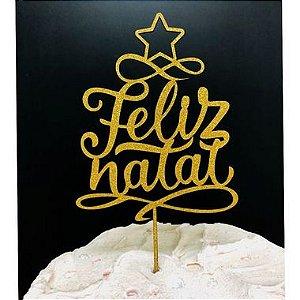 Topo de Bolo Feliz Natal Glitter Dourado Sonho Fino Rizzo