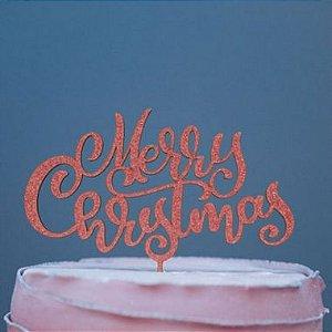 Topo de Bolo Natal Merry Christmas Glitter Vermelho Sonho Fino Rizzo