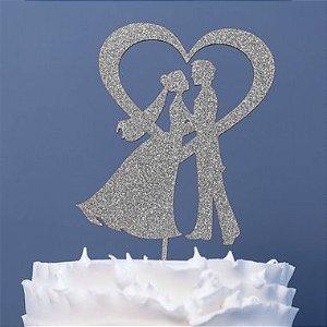 Topo de Bolo Noivos Coração Glitter Prata Sonho Fino Rizzo