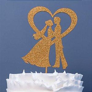 Topo de Bolo Noivos Coração Glitter Dourado Sonho Fino Rizzo