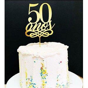 Topo de Bolo 50 Anos Glitter Dourado Sonho Fino Rizzo