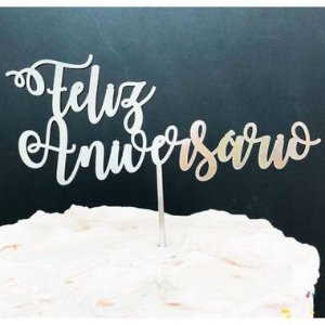Topo de Bolo Feliz Aniversário Espelhado Prata Sonho Fino Rizzo