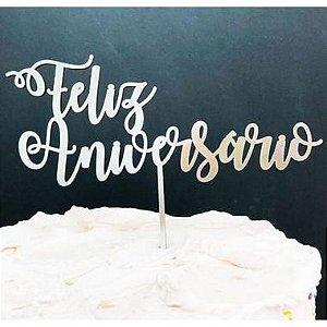 Topo de Bolo Feliz Aniversário Glitter Prata Sonho Fino Rizzo