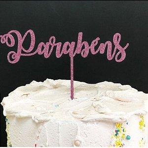 Topo de Bolo Parabéns Glitter Rosa Claro Sonho Fino Rizzo