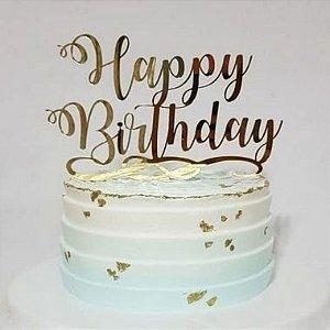 Topo de Bolo Happy Birthday Glitter Dourado Sonho Fino Rizzo