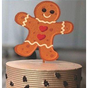 Topo de Bolo Biscoito Natal Glitter Sonho Fino Rizzo