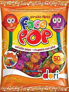 Pirulito Apito Face Pop Sabor Frutas 450g - Dori Alimentos - Rizzo Embalagens