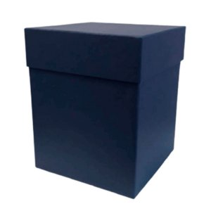 Caixa Rígida Luxo Premium - Azul Marinho - 16cm x 16cm x 20cm - Rizzo