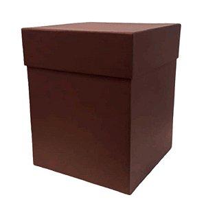 Caixa Rígida Luxo Premium - Marrom Café - 16cm x 16cm x 20cm - Rizzo Embalagens