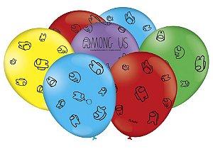 "Balão Especial 9"" Festa Among Us - 25 unidades - Festcolor - Rizzo Embalagens"