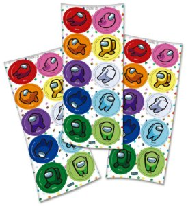 Adesivo Redondo Festa Among Us - 30 unidades - Festcolor - Rizzo Embalagens