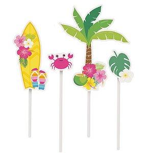 Topo de Bolo Festa Havaiana - 02 unidades - Cromus - Rizzo