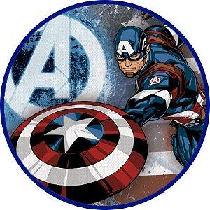 Painel TNT Redondo Vingadores Capitão América - 1,0x1,0m - 01unidade - Piffer - Rizzo Embalagens