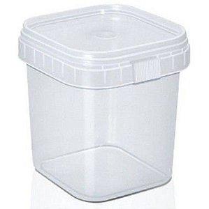 Pote com Lacre Quadrado - 500ml - Plastilânia - Rizzo Embalagens