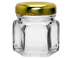 Pote de Vidro Sextavado com Tampa de Metal Dourada - 35ml - 5x4,5cm - 01 unidade - Rizzo Embalagens
