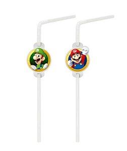 Canudo com Aplique Festa Super Mario - 20 unidades - Cromus - Rizzo