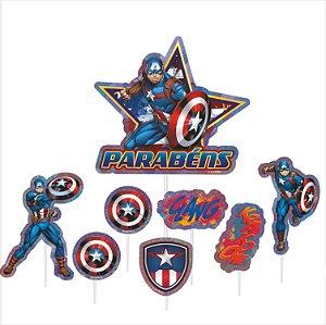 Topo de Bolo Impresso - Vingadores - Capitão América - 01unidade - Piffer - Rizzo Embalagens