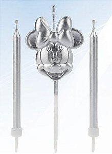 Vela Minnie Rosto Prata Disney Silver Festas Rizzo