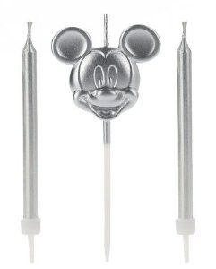 Vela Mickey Rosto Prata Disney Silver Festas Rizzo