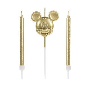 Vela Mickey Rosto Dourada Disney Silver Festas Rizzo