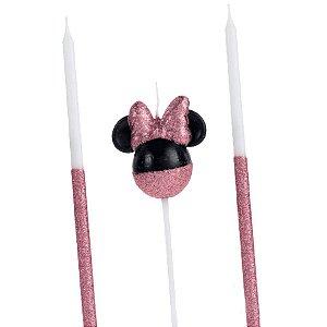 Vela Minnie 360 Glitter Rose Gold Disney Silver Festas Rizzo