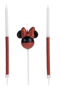 Vela Minnie 360 Glitter Vermelho Disney Silver Festas Rizzo