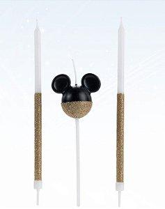 Vela Mickey 360 Glitter Dourada Disney Silver Festas Rizzo