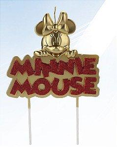 Vela Minnie Metalizada Dourada Disney Silver Festas Rizzo