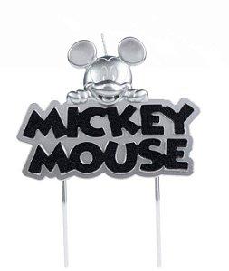 Vela Mickey Metalizada Prata Disney Silver Festas Rizzo