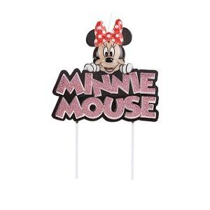Vela Minnie Colorido Glitter Rosa Disney Silver Festas Rizzo