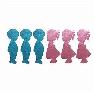 Mini Personagem em EVA - Chá Revelação Glitter - 5 Unidades - Piffer - Rizzo Embalagens