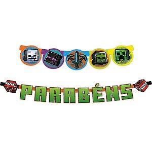 Faixa Parabéns - Festa Minecraft Grafite - 01unidade - Regina - Rizzo Embalagens