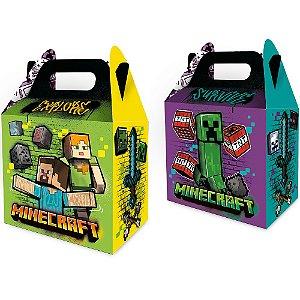 Caixa Surpresa - Festa Minecraft Grafite - 08 unidades - Regina - Rizzo Embalagens