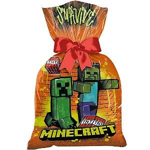 Sacola Plástica - Festa Minecraft Grafite - 12 unidades - Regina - Rizzo Embalagens