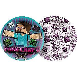 Prato Papel Redondo 18cm - Festa Minecraft Grafite - 12 unidades - Regina - Rizzo Embalagens