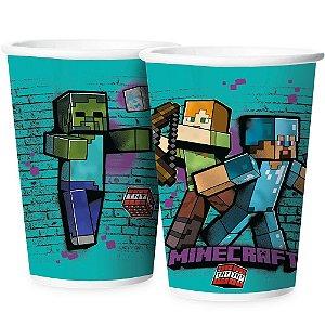 Copo Papel 180ml - Festa Minecraft Grafite - 12 unidades - Regina - Rizzo Embalagens