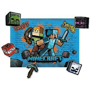 Kit Decorativo - Festa Minecraft Grafite - 01unidade - Regina - Rizzo Embalagens