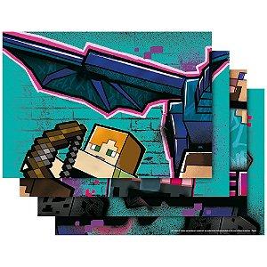 Painel Decorativo 126x88cm - Festa Minecraft Grafite - 01unidade - Regina - Rizzo Embalagens