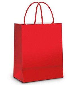 Sacola de Papel P Vermelho Metalizado Fosco - 21,5x15x8cm - 10 unidades - Cromus - Rizzo Embalagens