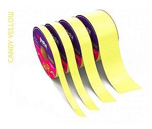 Rolo Fita Lisa Candy Amarelo - 15mm x 50m - EmFesta
