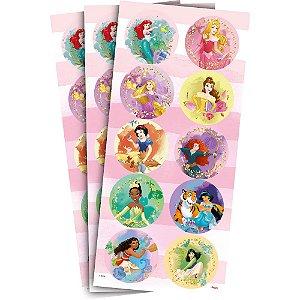 Adesivo Redondo Decorativo - Princesas Disney - 30 unidades - Regina - Rizzo Embalagens
