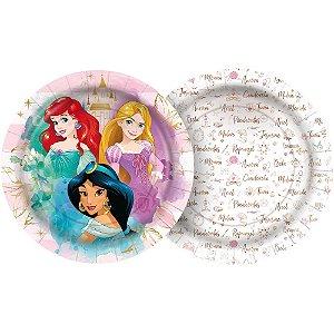 Prato Papel Redondo 18cm - Festa Princesas Disney - 12 unidades - Regina - Rizzo Embalagens