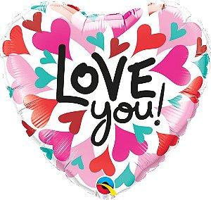 """Balão de Festa Microfoil - Love You Corações Convergindo - 18"""" 46cm - 01 Unidade - Rizzo Embalagens"""