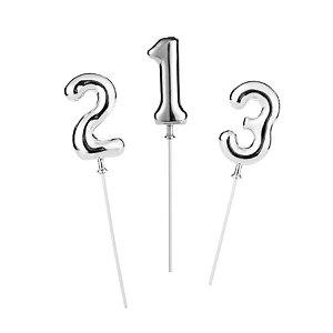 Topo de Bolo Prata - 01 Unidade - Silver Festas - Rizzo Embalagens