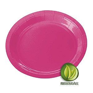 Prato de Papel Biodegradável Rosa Pink 18cm - 10 unidades - Silverplastic - Rizzo Embalagens
